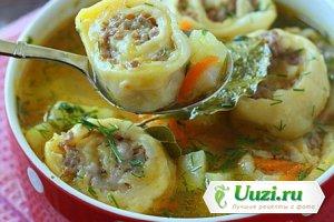 Суп с картофелем и ленивыми пельменями Изображение