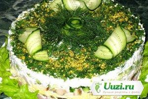 Салат с ветчиной курицей и грибами Изображение