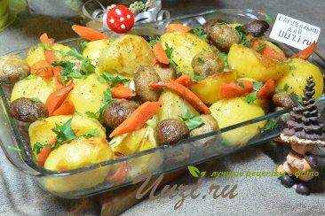 Картошка с грибами в духовке Изображение