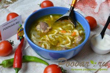 Суп зама из курицы и домашней лапши Изображение