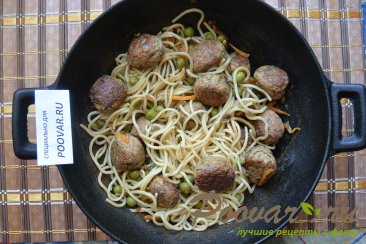 Фрикадельки с зеленым горошком и спагетти Шаг 8 (картинка)