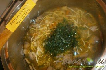 Суп с грибами и яичной лапшой Шаг 9 (картинка)