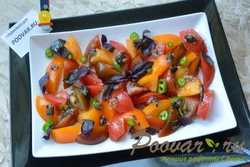 Салат из помидор сыра и базилика Шаг 6 (картинка)