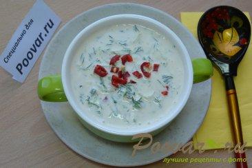 Холодный суп с огурцами на кефире с творогом Изображение