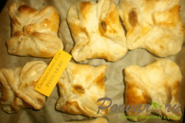 Конвертики из слоёного теста с сыром Шаг 10 (картинка)