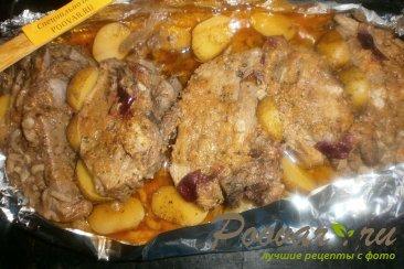 Свиные рёбрышки с алычой, грибами в духовке Шаг 12 (картинка)