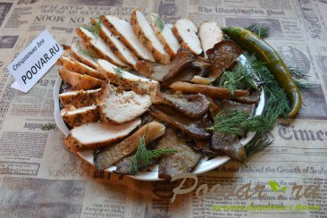 Куриная грудка с грибами вешенка Изображение