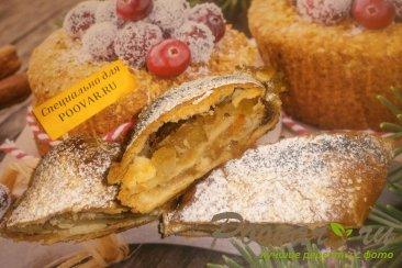 Рулет из творожного теста с яблоками и цукатами Шаг 17 (картинка)