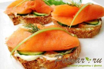 Бутерброды с красной рыбой Изображение
