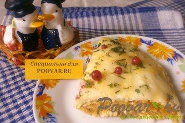 Пирог из вафельных коржей с капустой Изображение
