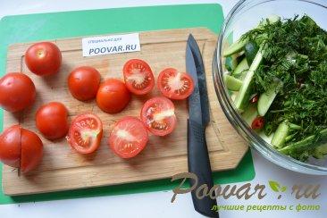 Малосольные огурцы, помидоры и цукини Шаг 6 (картинка)