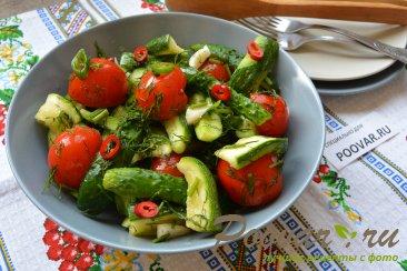 Малосольные огурцы, помидоры и цукини Изображение