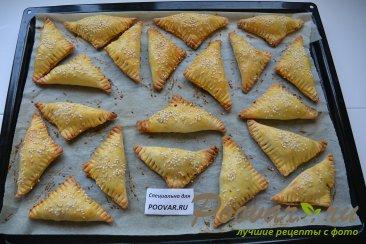 Пирожки из слоеного теста в духовке Шаг 14 (картинка)