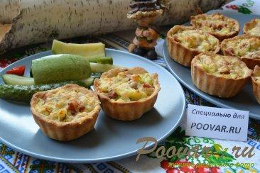 Корзиночки из слоеного теста с картофелем и сосисками Шаг 11 (картинка)