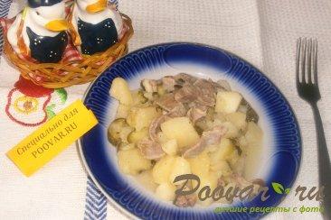 Картофель с куриными желудками и огурцами Изображение