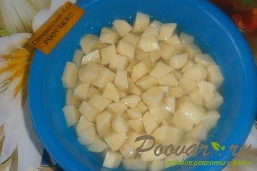Картофель с куриными желудками и огурцами Шаг 3 (картинка)