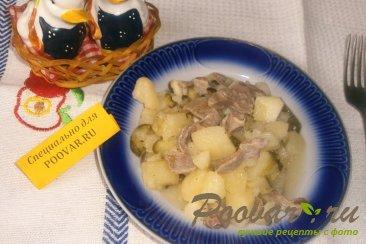 Картофель с куриными желудками и огурцами Шаг 10 (картинка)