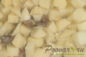 Картофель с куриными желудками и огурцами Шаг 4 (картинка)