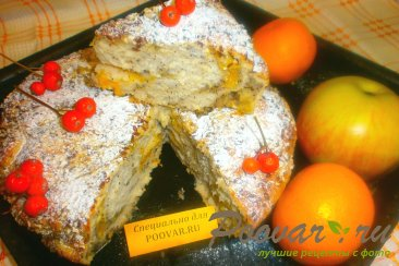 Пирог с яблоками и мандаринами Изображение