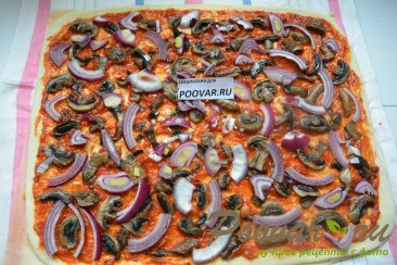 Постная пицца с грибами и помидорами Шаг 10 (картинка)