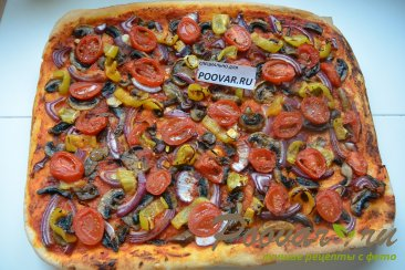 Постная пицца с грибами и помидорами Шаг 13 (картинка)
