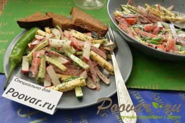Овощной салат с сыром и колбасой Шаг 10 (картинка)