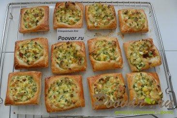 Пирожки из слоёного теста с  зелёным луком и яйцом Шаг 9 (картинка)