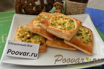 Пирожки из слоёного теста с  зелёным луком и яйцом Шаг 10 (картинка)