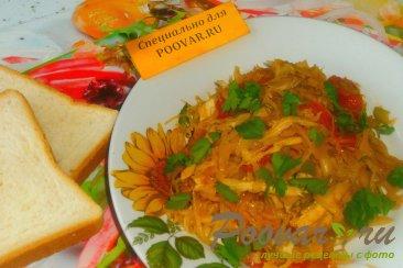 Капуста тушёная с курицей и вялеными помидорами Изображение