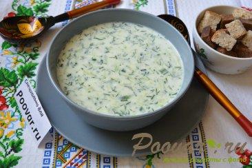 Холодный суп на кефире с огурцами и яйцами (Окрошка) Изображение