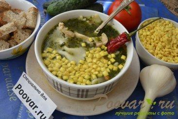 Куриный суп с макаронами и шпинатом Изображение