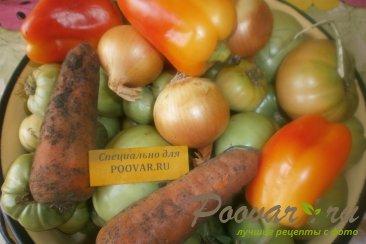 Салат из зелёных помидоров с овощами на зиму Шаг 1 (картинка)