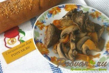 Рагу из куриной печени и грибов Изображение