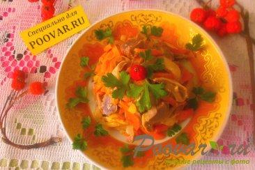 Салат из куриных пупков с овощами Шаг 12 (картинка)