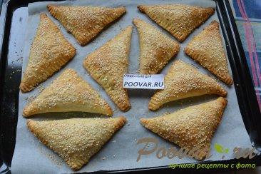 Пирожки с мясом и грибами из слоёного теста Шаг 12 (картинка)