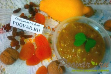 Сырое варенье из лимона с мёдом и сухофруктами Изображение