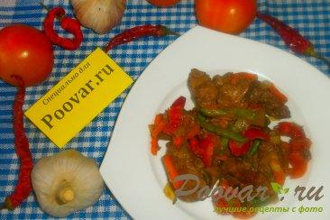 Куриная печень с сердечками и овощами на сковороде Шаг 16 (картинка)