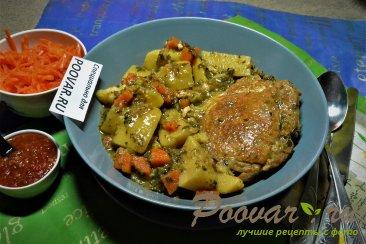 Тушеная картошка с мясом в мультиварке Изображение