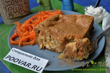 Заливной пирог с картофелем и мясом Изображение