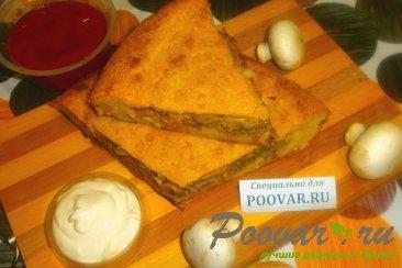 Пирог из картофельного теста с грибами и фаршем Изображение