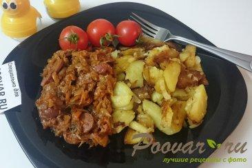 Тушёная капуста с картошкой и колбасой Изображение