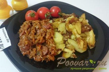 Тушёная капуста с картошкой и колбасой Шаг 11 (картинка)