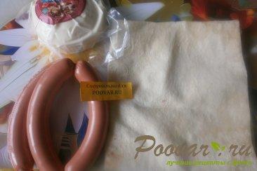 Трубочки из лаваша с колбасой и сыром моцарелла Шаг 1 (картинка)