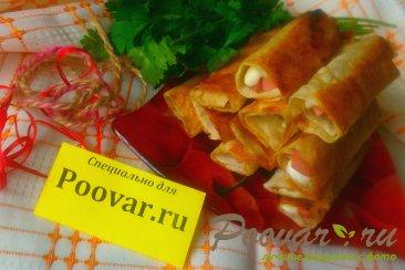 Трубочки из лаваша с колбасой и сыром моцарелла Шаг 11 (картинка)