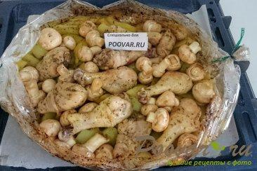 Картофель с курицей и грибами запеченный в духовке Шаг 11 (картинка)