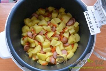 Тушеная картошка с сосисками в мультиварке Шаг 9 (картинка)