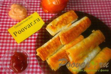 Рулетики с луком и сыром из лаваша Шаг 15 (картинка)