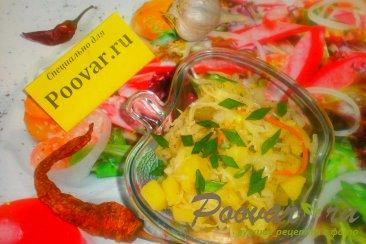 Картофельный салат с квашеной капустой с хреном Изображение
