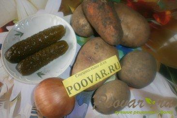 Тушёный картофель с солёными огурцами Шаг 1 (картинка)