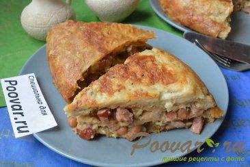 Пирог из лаваша с колбасой в мультиварке-скороварке Изображение